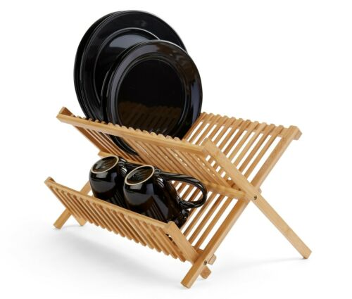 Dish Drying Rack Bamboo Dish Rack Plate Rack Collapsible Dish Drainer