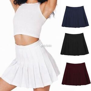 Femmes plissé Mini Jupe Patineuse Taille Haute ligne-A Jupe Courte ... 26fb3c49e792