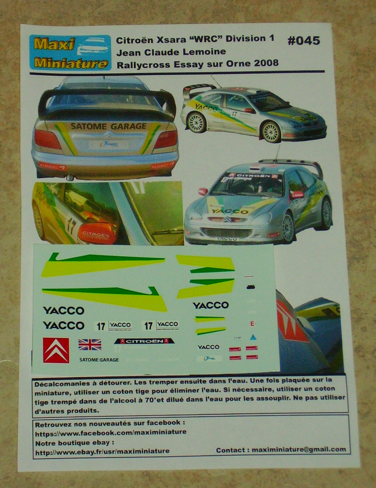 Décals 1 43e Citroën Xsara  WRC  Div 1 JC Lemoine Rallycross Essay sur Orne 2008