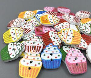 50X Mixed Bulk Animal Wooden Sewing Buttons Scrapbooking Holes 2 DIY Craft J9O1