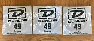 3 X Dunlop Cordes Pour Guitare électrique | .049 Gauge | Blessure Nickel Acier Plaqué-afficher Le Titre D'origine