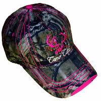Pink Camo Cutie Cap,mossy Oak Full Camo With Hot Pink Trim And Logo