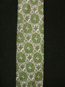 VINTAGE-1950-039-S-1960-039-S-MUTICOLORED-COTTON-TIE-WITH-FLOWER-DESIGNS
