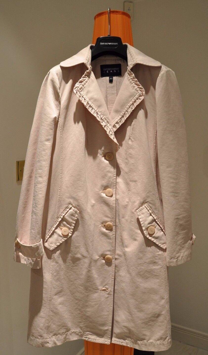 NEW Emporio Armani Womens Beige Dust Pink Coat - Size 41IT   12 UK