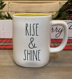 Rae-Dunn-By-Magenta-LL-RISE-amp-SHINE-LL-WHITE-W-YELLOW-Interior-Coffee-Mug
