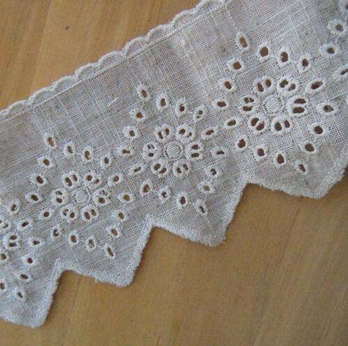"""Algodón 4.5/"""" ancho vintage bordado con ojales de encaje de corte Apagado Blanco b0166"""