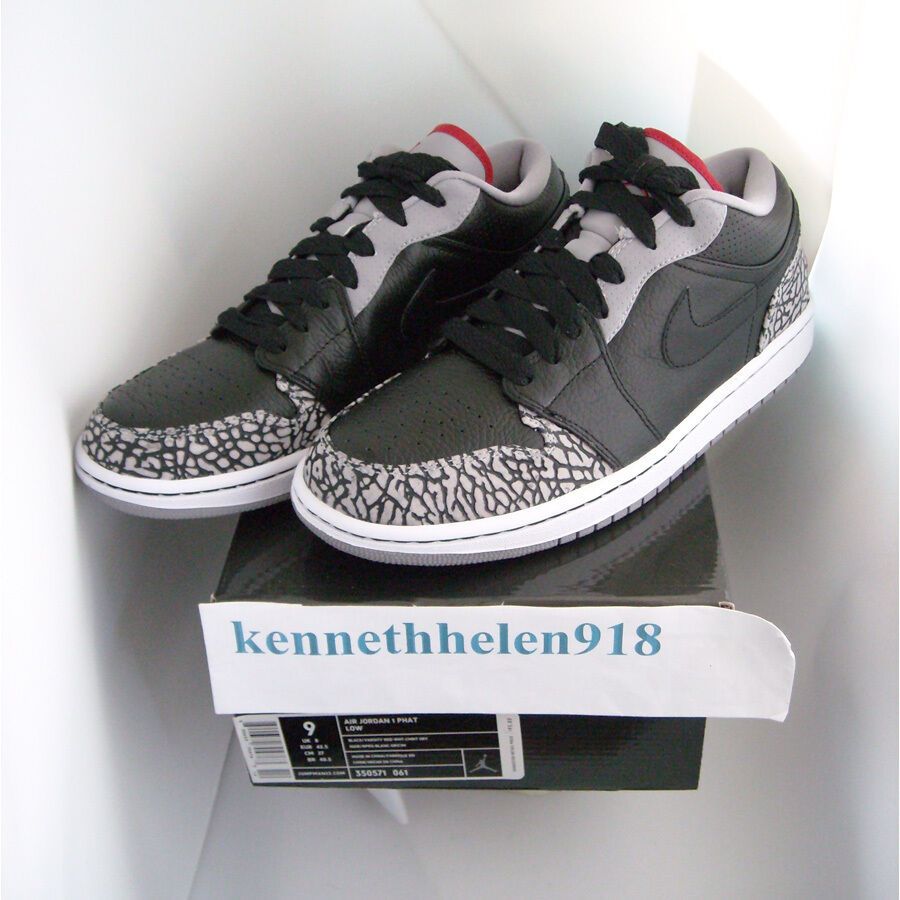 NEW 2008 NIKE AIR JORDAN 1 PHAT PHAT PHAT LOW BLACK VARSITY RED WHITE CEMENT GREY SIZE 9 af36e7
