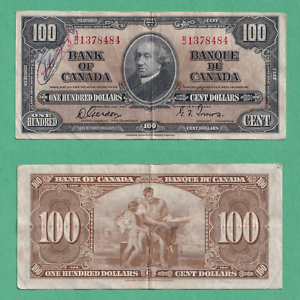 1937-100-Bank-of-Canada-Note-Gordon-Towers-VF-writing