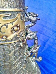 Meiji-Period-Dragon-Lamp-Ornate-Bronze-Metal-Work-Slag-Glass-Shade-c-1900
