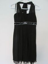 Women's En Focus Studio Black Halter Dress Size 6 Sheer/Sequins/Silver Prom/Sexy