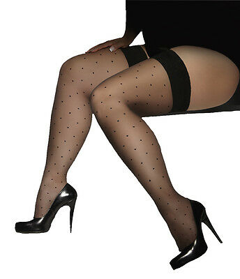 GWENN LADIES PLUS SIZE HOLD-UPS STOCKINGS 15 DENIER HOSIERY size XL to 4XL