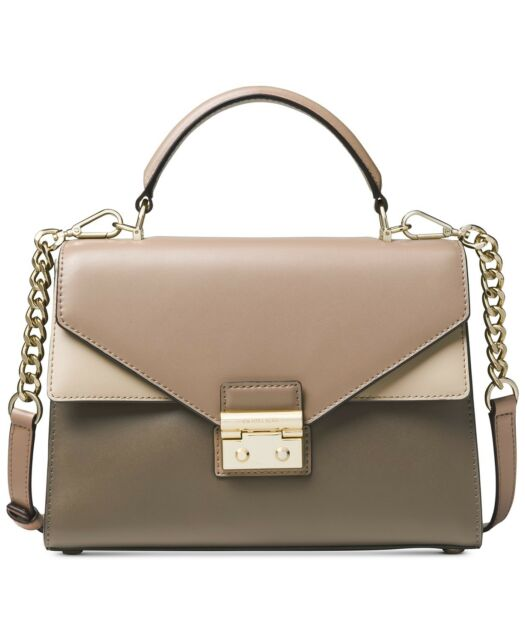 fad6834d1e79 Michael Kors Mushroom Truffle Oat Leather Top Handle Sloan Satchel  Crossbody Bag