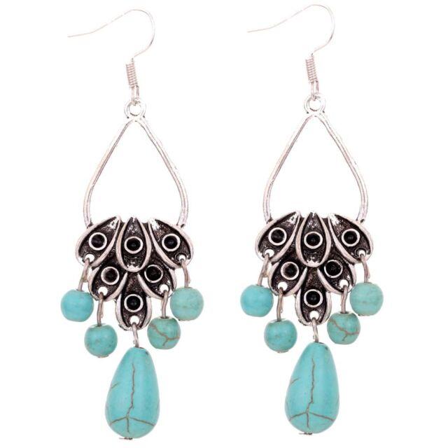 bead pendant Jewelry Tibetan Silver Leaf Dangle Turquoise Hook Earrings Jewelry