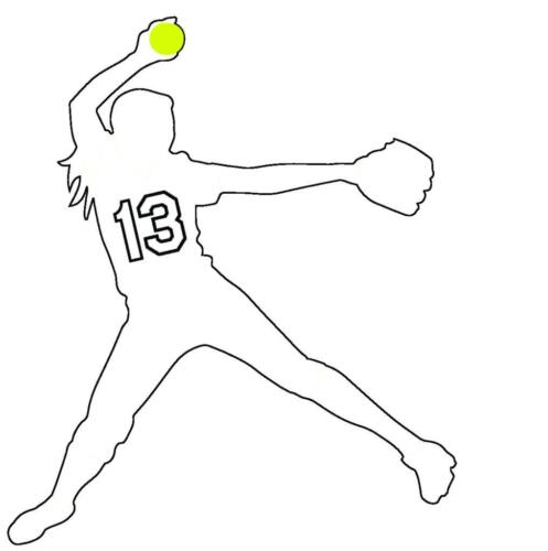 Softball Pitcher Girl Female White Vinyl Window Decal Choose Jersey Number 00-50