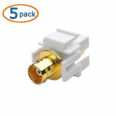 Wall plate Keystone Jack BNC Recessed  Gold Plated  White