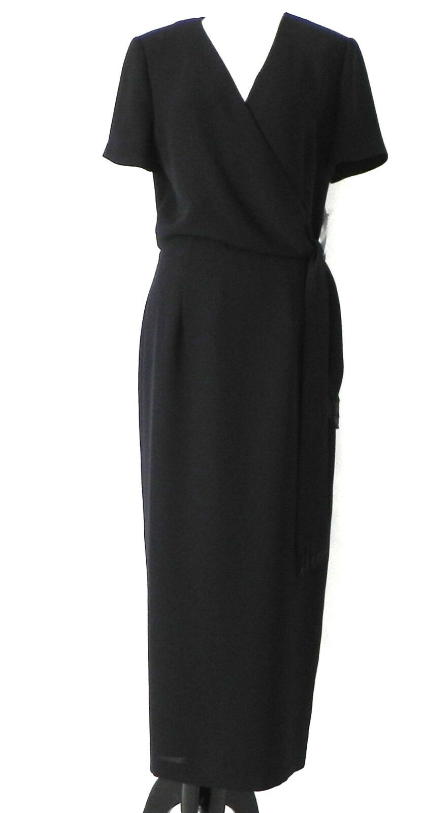 Maggy London Dress schwarz Short Sleeve Maxi Faux Wrap Top Größe 10