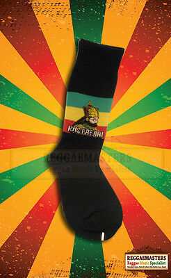 Black Socks With Halie Selassie Rastafari & Red Gold Green Stripes Roots Reggae Diversifiziert In Der Verpackung