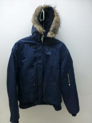 Boys Faux Fur Lined Hood Snorkel Coat Navy Blue Parka Kids Age 3-12 Years