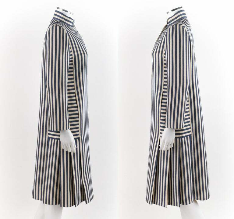PAULINE TRIGERE c.1980's Blue Ivory Striped Pleat… - image 6
