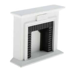 Puppenhausmoebel-Miniaturen-Im-Massstab-1-12-Weisser-Kamin-Modellzubehoer