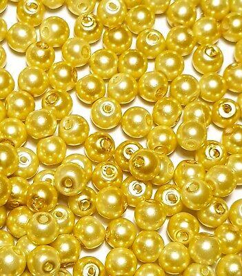 100 x 6mm Pale Lemon Glass Pearl Beads Jewellery Making Crafts