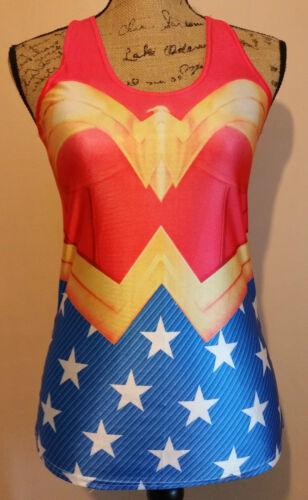 Womens Superhero DC Marvel T Shirt Tank Top Cosplay Ladies Vest One Size New UK