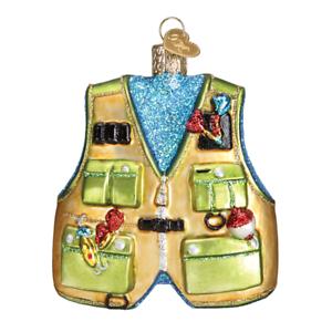 034-Fishing-Vest-034-44091-X-Old-World-Christmas-Glass-Ornament-w-OWC-Box