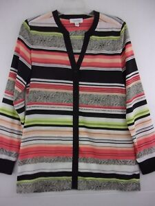 Calvin-Klein-Womens-Small-Striped-Long-Sleeve-Button-Front-V-Neck-Blouse-Top
