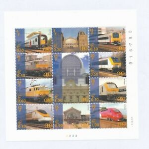 D168666 Belgium MNH Sheetlet Trains Locomotives