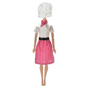 3-Pcs-lot-Dress-Apron-Hat-Chef-Clothes-Doll-for-s-Dolls-EO
