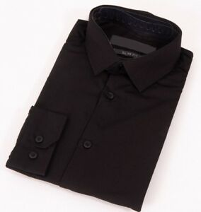 Mens-Black-Shirt-Formal-Long-Sleeve-Slim-Regular-Fit-Plain-Business-Work-Collar
