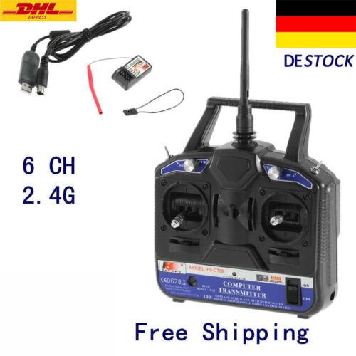 Flysky FS-CT6B FS Hand-Fernsteuerung 2.4 GHz 6 Kanäle RC Sender mit Empfänger EF