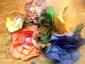 VINTAGE-SCRUNCHED-ROSES-FLOWERS-COTTON-SILK-1940-039-s-CZECK-1-piece
