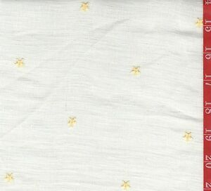 "Vintage CREME sheer linen type with Embroidered stars 56"" W sold By 1/2 Yard"
