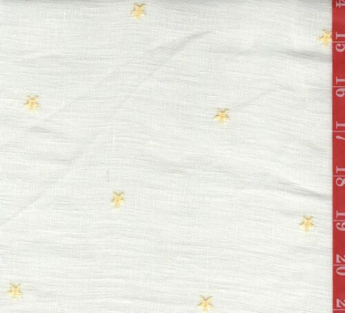 Vintage CREME sheer linen type with Embroidered stars 56 W sold By 1/2 Yard