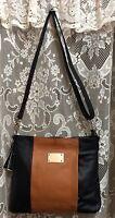 Leather Handbag Locking Concealed Carry R & L Gun Purse Cross Body Black 7041