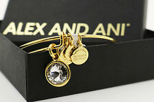SALE  Alex and Ani APRIL Birthstone CRYSTAL GOLD Charm Bangle New Tag,Card & Box