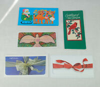 Lot Of 5 Christmas Holiday Money Holder Envelopes Dove Bows Cardinal Santa