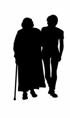 "Silhouette Set 4 Embellishments /""Grandmother Walking w Granddaughter/"" Die Cuts"