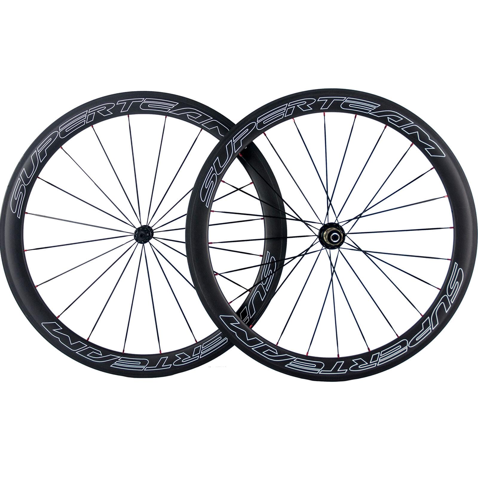 SUPERTEAM 700C Carbon Road  Bike Wheels 50mm Carbon Clincher Wheelset Bicycle  100% authentic