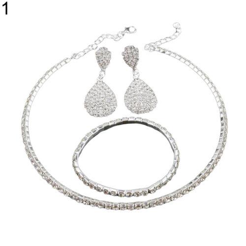 IM Women Rhinestone Choker Necklace Earrings Bangle Wedding Party Jewelry Set N