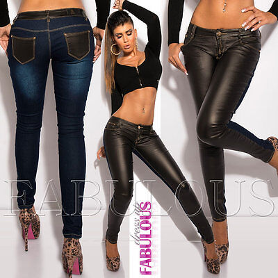 Trendy Women's Faux Leather Skinny Stretch Jeans Size 6 8 10 12 14 XS S M L XL