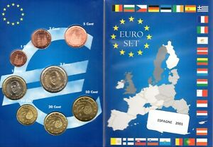 EURO ESPAGNE 2001  SERIE COMPLETE 1 C A  2 € NEUVE