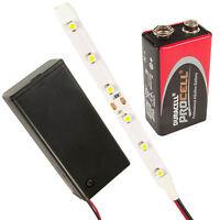 Dolls House Led Strip Light Kit Pp3 Holder Switch Prewired All Colours & Lengths