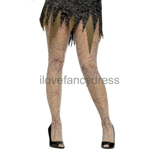 LADIES ZOMBIE BLOODY VEIN TIGHTS HALLOWEEN FANCY DRESS COSTUME ACCESSORY UNDEAD