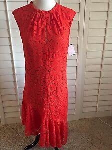 Women-Dresses-asymmetrical-hem-lace-Trina-Turk-Sleeveless-TOMATE-NWT-198