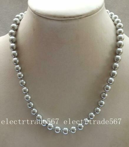 """Natural 8mm gray South Sea Shell Pearl Necklace 18/"""""""
