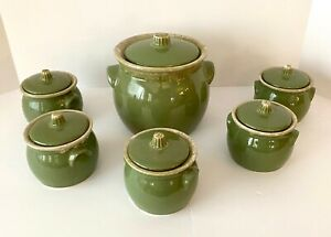 Hull-Pottery-Vintage-Green-Drip-Bean-Pot-set-with-5-sm-lidded-pots-OR-cookie-jar