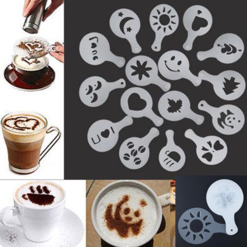 16X Latte Art Schablonen Vorlagen Cappuccino Kaffee Schaum DIY-Tool HMGG