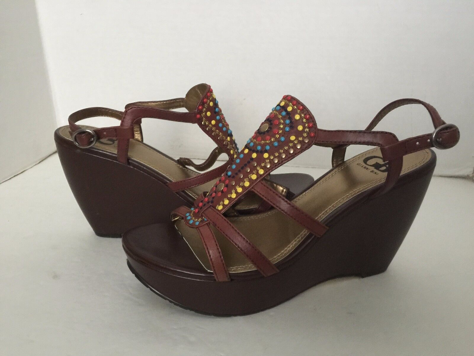 Gianni Bini braun Beaded Open Toe Strappy Platform Wedge Sandals 10